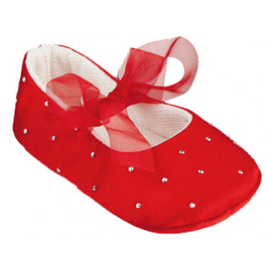 Frazer and James S017 Red Satin Sparkle Ballerina Pram Shoes