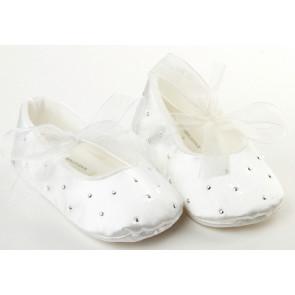 Frazer and James PD017 Satin Sparkle Ballerina Pram Shoes WHITE