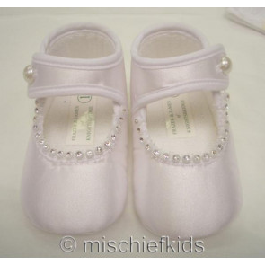 Frazer and James S005 Satin Diamante Pram Shoes IVORY or WHITE