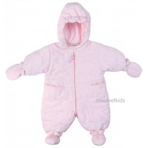 Emile et Rose 29802 1404 Pink Rose Embroidered Snowsuit, Booties and Mittens Set