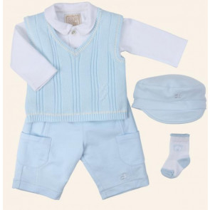 Emile et Rose 29805 9429 White and Blue 5 Piece Top, Tanktop, Trouser, Socks and Hat Set