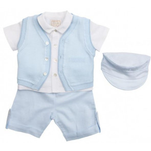 Emile et Rose 30028 9438 Blue Four Piece Shirts, Shorts and Knitted Waistcoat Set