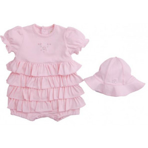 Emile et Rose 30029 7170 Pink Ruffle Romper and Hat Set