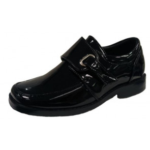 OCCASIONS AX8303 Boys Black Patent Slip On Shoes