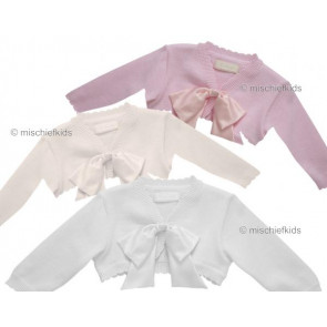 Little Darlings 9014 AUDREY Cotton Bolero Cardigan IVORY PINK or WHITE