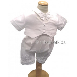 BENJAMIN Boys Christening Romper and Jacket and Cap