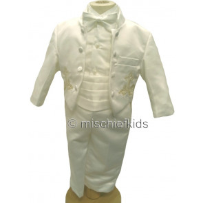 Couche Tot PERRY Satin 6 Piece Baby Tuxedo Set WHITE OR IVORY