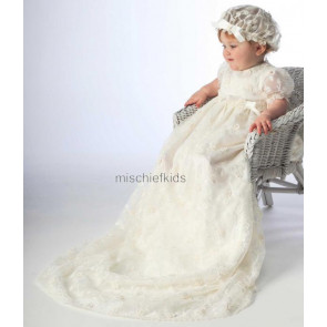 Little Darlings G9012 Louisa Christening Extra Long Gown and Mop Cap Set