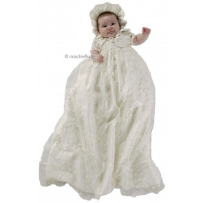 Little Darlings G9013 Claudia Ivory Silk Guipure Lace Extra Long Christening Gown, Bolero Jacket and Poke Bonnet Set IVORY