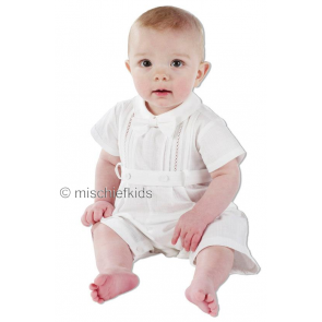 Little Darlings A5203 TRISTAN White Cotton Romper
