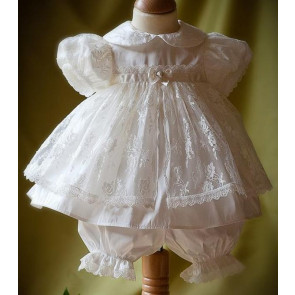 Angels and Fishes CHLOE Silk and Lace Christening Bloomer Set