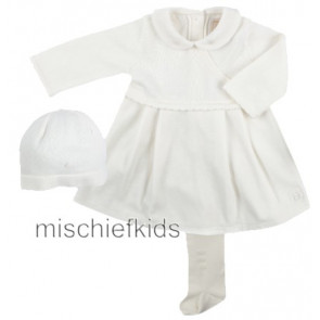 Emile et Rose 6178 Ivory Knit Dress Hat Tights Set