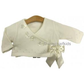 Abella AB4316 Picot Knit Bolero Cardigan in IVORY