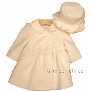 Abella AB4428 and 4429 Ivory Coat and Hat Set