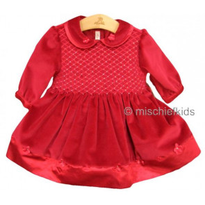 Abella AB4330 Red Velvet Smocked Dress