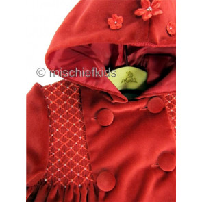 Abella AB4332 Red Velvet Hooded Smocked Coat