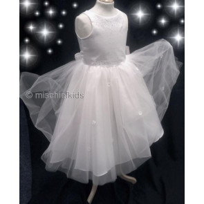 OCCASIONS CANDICE A6752X White Diamante Satin and Tulle Communion Dress