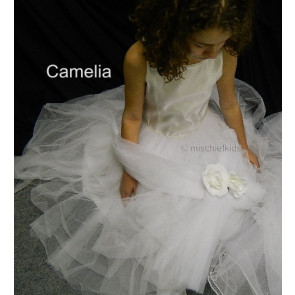 OCCASIONS CAMELIA L A7002X White Beaded Satin and Tulle Communion Dress