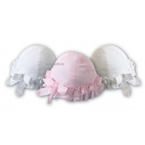 Sarah Louise 003616 Frilly Hat in IVORY PINK or WHITE