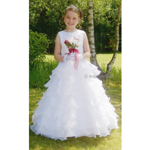 Cascade White Multi-Layered Organza Communion Dress