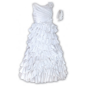 White Satin Communion Dress & Headband