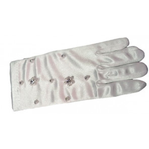 Little People 719 White Satin Stretch Bead and Diamante Gloves