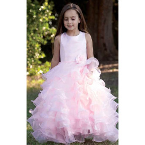 Sarah Louise Cascade Pink Organza Ankle Length Dress
