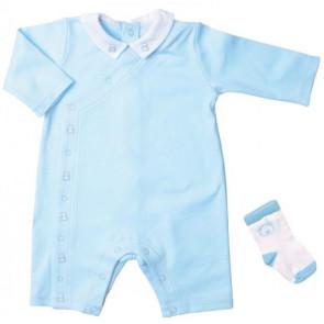 Emile et Rose E1478pb Blue Jersey Cotton Romper Onesie and Socks Set