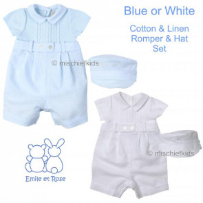 Emile et Rose E7177 ALVIN Cable Knit and Linen Mix Romper and Cap Set BLUE or WHITE