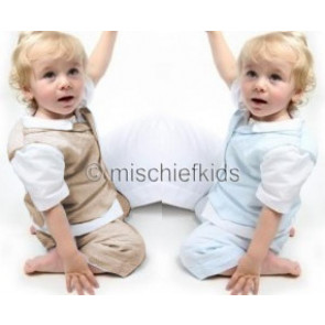 Emile et Rose 9501 Boys Linen Waistcoat, Shirt, Shorts and Cap Suit in STONE or PALE BLUE