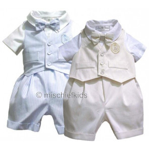 Little Darlings LD1733 and LD1740 Romper and Waistcoat BLUE or BISCUIT STRIPE
