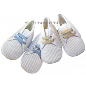 Little Darlings LD1742A Pram Shoes BISCUIT STRIPE