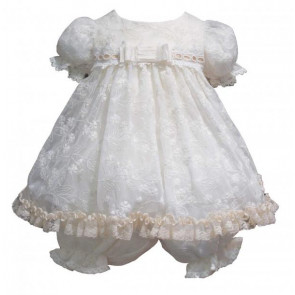 Little Darlings LD1729 Antique Lace Style Dress and Bloomer Set