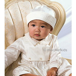 Sarah Louise 002216 Ivory Pure Silk Christening Romper and Hat