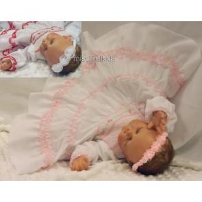 Sarah Louise 0108549 Baby Smocked Dress WHITE/PINK or WHITE/RED