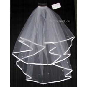 Little People 1981 White Pearl and Diamante Satin Trim Veil