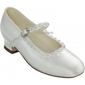 Little People 4931 + 4865 ADORE White Satin Diamante Lace Kitten Heel Shoe