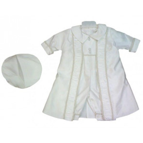 OCCASIONS TUDOR White Boys Christening Romper and Braid Trim Coat and Hat Set