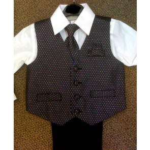 OCCASIONS CONRAD A465X Black Sparkle Four Piece Waistcoat Suit