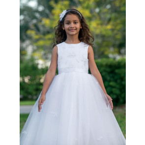 Sarah Louise 070035 Twinkle Tulle Communion Dress WHITE