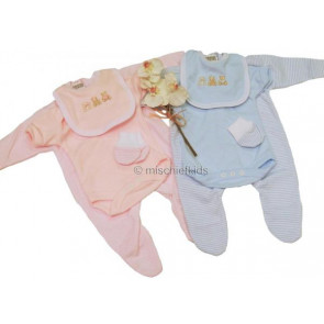 NEWBORN SH0203 Tiny Baby 4 Piece Romper Mitts Bib and Body Vest PREM