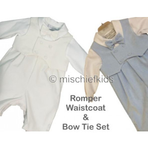 Little Darlings LD2066 and LD2073 Bowtie Romper BLUE or CREAM
