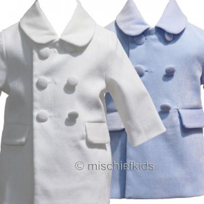 Little Darlings LD2069 and LD2075 Boys Classic Overcoat Coat BLUE or IVORY CREAM