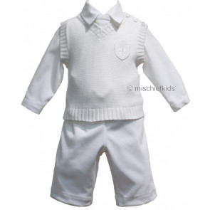 Little Darlings LD2074 Boys Ivory Shirt, Trousers, Tanktop and Tie Set