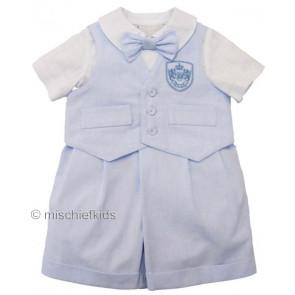 Little Darlings LD2237 Romper/Waistcoat BLUE CHAMBRAY