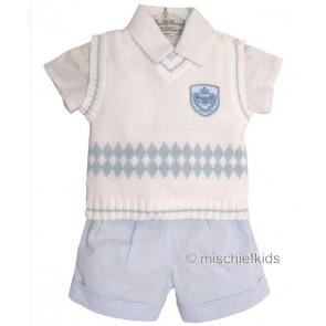 Little Darlings LD2239 Shirt, Shorts and Tank Top Set BLUE CHAMBRAY