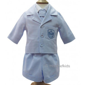 Little Darlings LD2240 and LD2241 Jacket, Shirt, Shorts and Tie Set CHAMBRAY BLUE