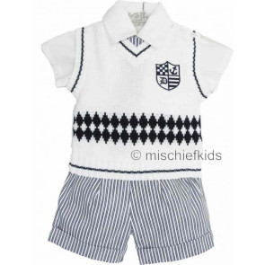 Little Darlings LD2274 White and Navy Shirt, Tanktop, Shorts and Tie Set