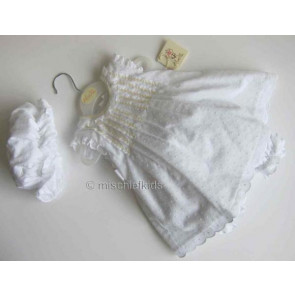 Abella AB5108 White and Lemon Dress Bloomers and Mop Cap