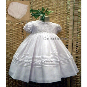 Sarah Louise 200 198 Smock Dress and Bonnet IVORY or WHITE